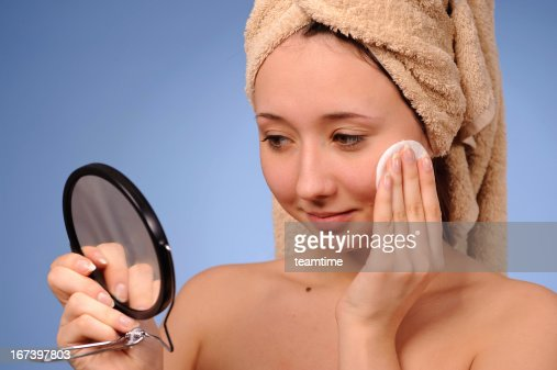 Woman with a towel : Stock Photo