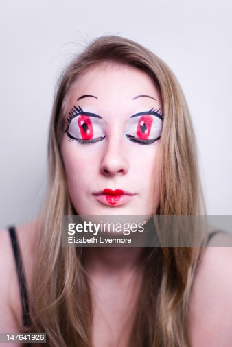 Woman with anime style eyes : Stock Photo