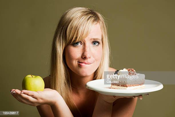 Woman with apple and cake