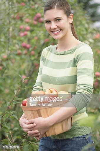 Woman with basket of apples : Stock-Foto