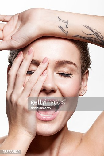 Woman with beautiful natural manicure and perfect clean skin : Stock Photo
