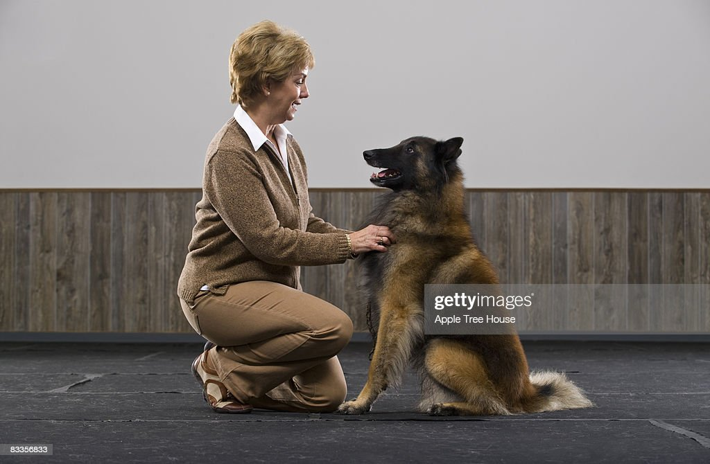 Woman with Belgian Tervuren : Stock Photo