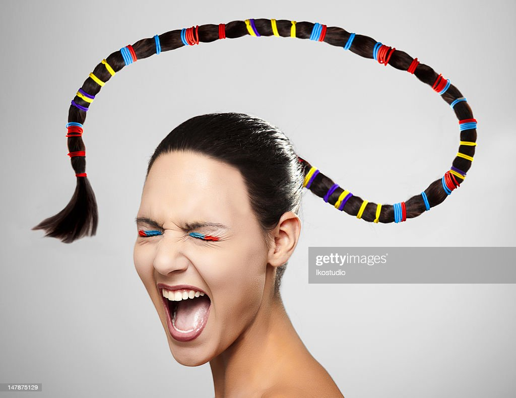 Woman with big ponytail : Stock Photo