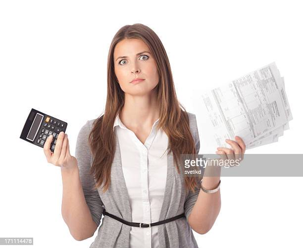 Woman with bills.