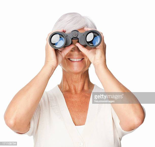 Frau mit Fernglas, isoliert
