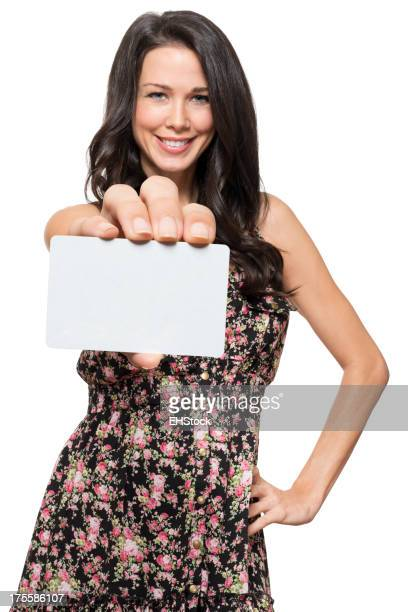 Woman with Blank Credit Card Isolated on White Background