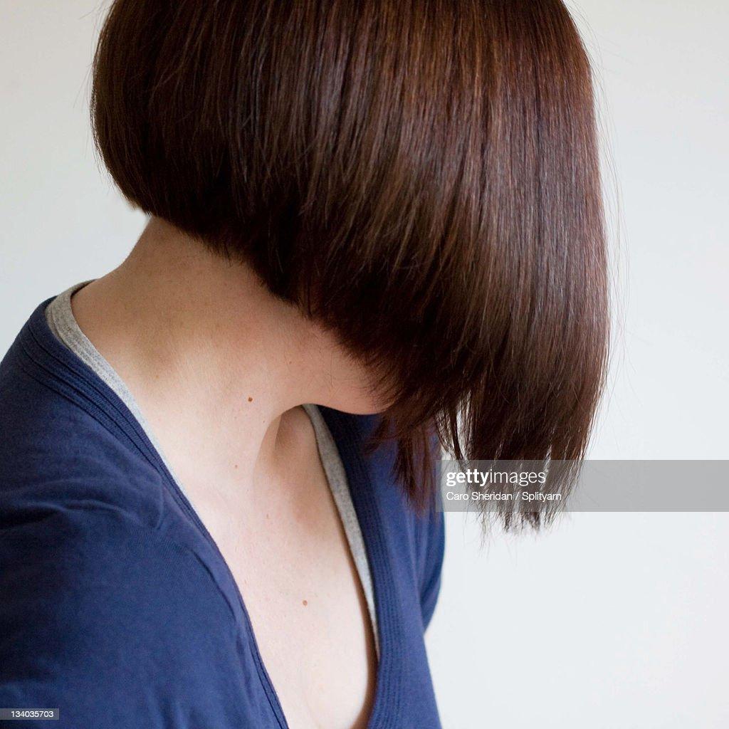 Woman with bob wedge hair cut : Stock Photo