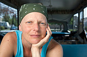 Woman with breast cancer wearing a scarf on her head