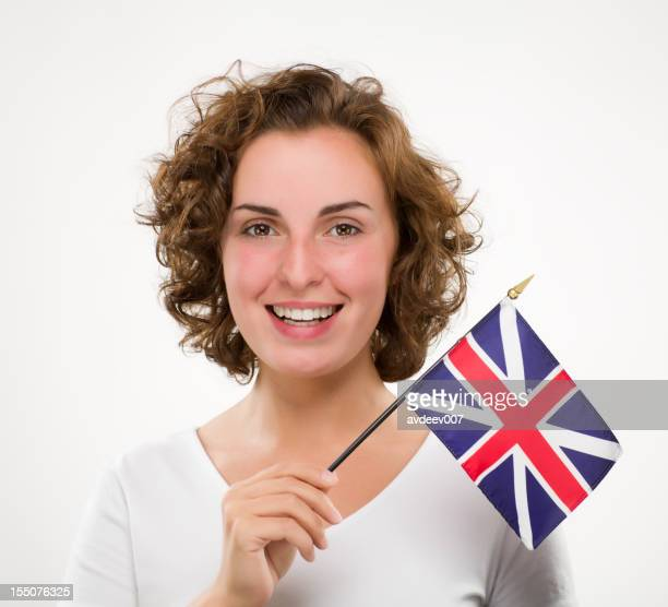 Woman with British flag
