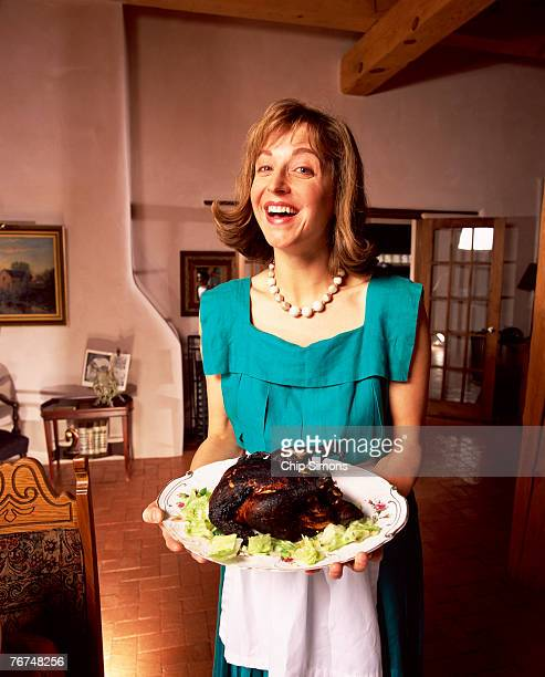 Woman with burned chicken
