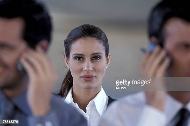Woman with business group