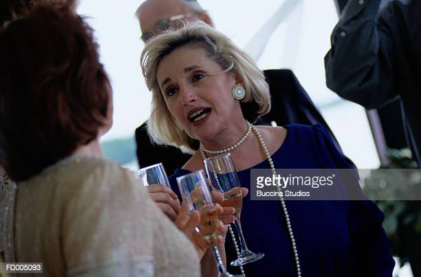 Woman with Champagne at Wedding
