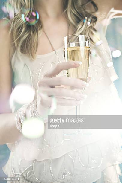 woman with champagne glass