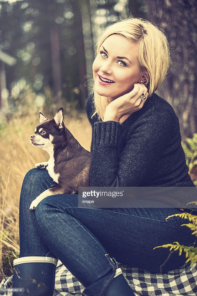 Woman with chihuahua : Stock Photo