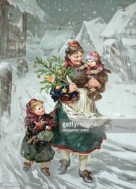 Woman with children and a christmas tree historical chromolithography 1886