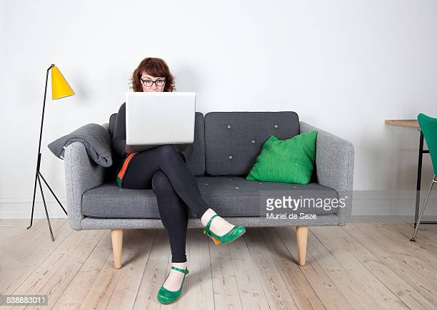 woman with computer, home