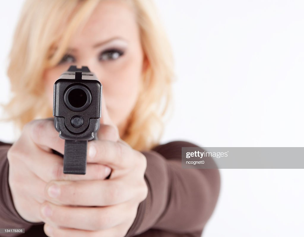 Woman with concealed permit : Stock Photo