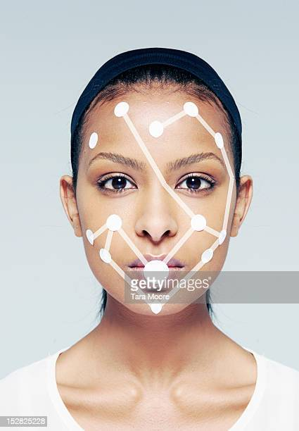 woman with connecting dots on face