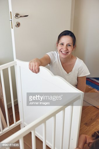 Woman with cot