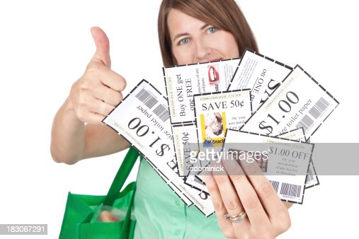 Woman With Coupons And Thumb Up