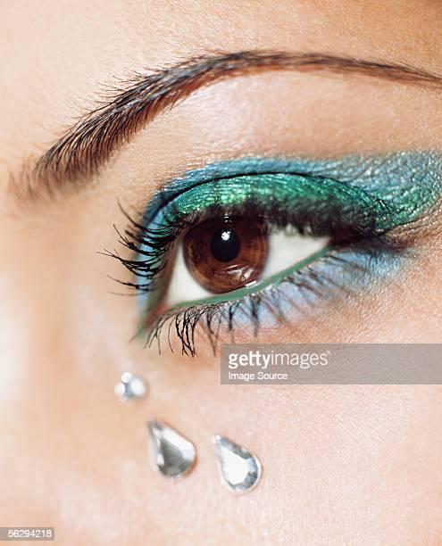 Woman with crystal tears