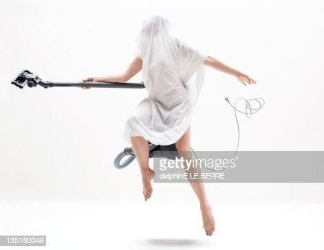 woman with electric broom stick. : Foto de stock