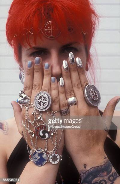 A woman with ethic jewellery UK 1980s