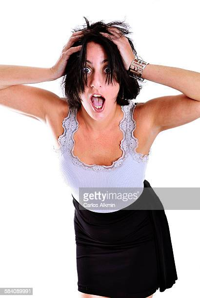 Woman with expression of surprise or scared face