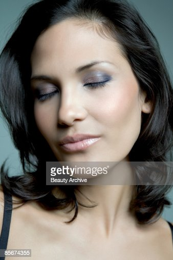 Woman with eyes closed : Stock Photo