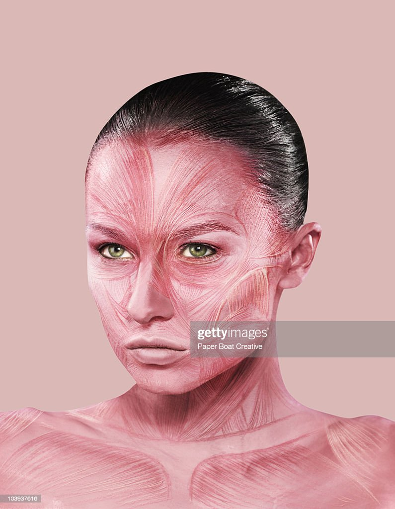 Woman with facial muscle structure painted on her : Stock Photo