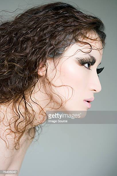 Woman with fake eyelashes