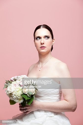 Woman with faraway look. : Stock Photo