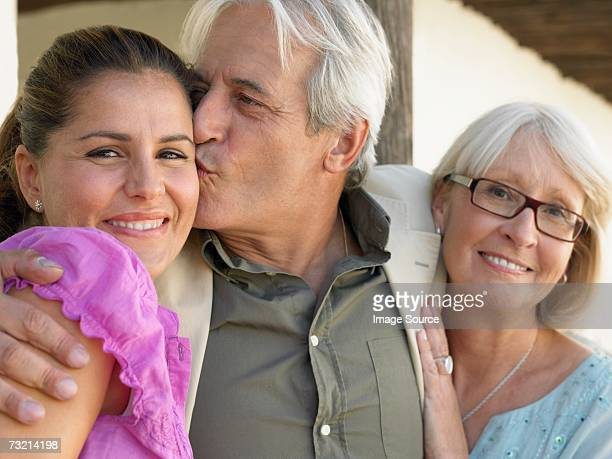 Woman with father and mother