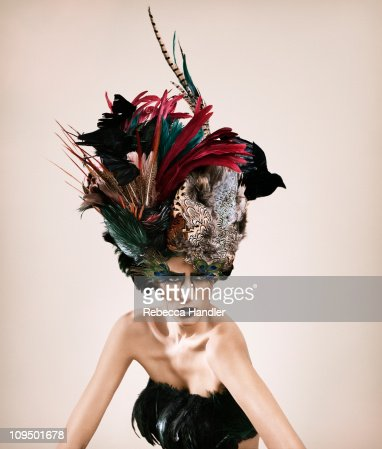 Woman with Feather Hat : Stock Photo