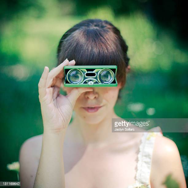 Woman with field glasses