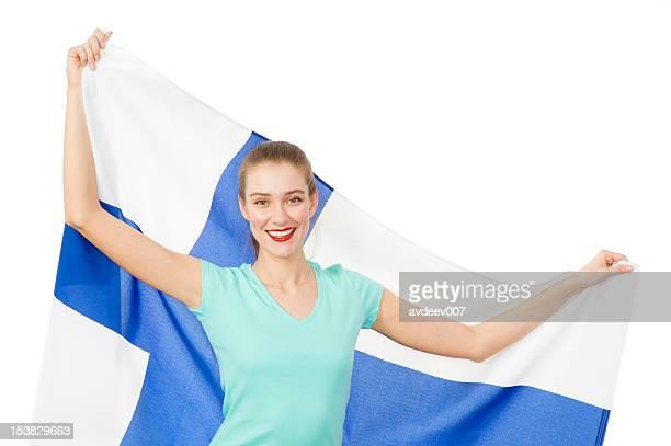 Frau mit Finnische Flagge