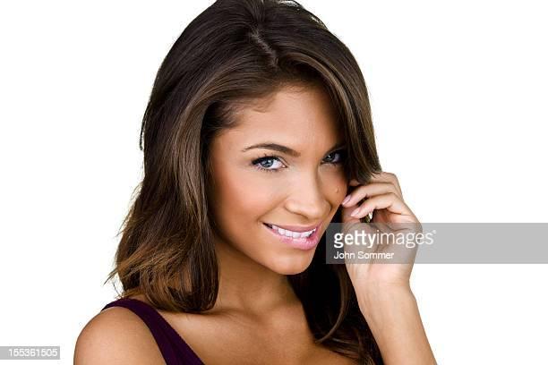 Mujer con expresión flirtatious