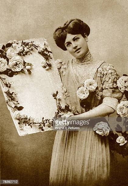 Woman with floral artwork