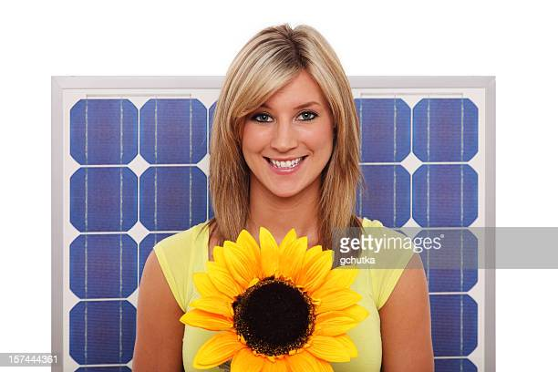 Woman With Flower And Solar Panel
