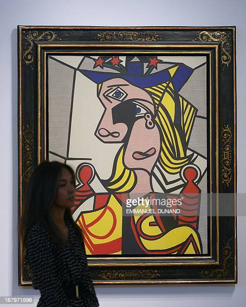 'Woman with flowered hat' by Roy Lichtenstein is on display during a preview of Christie's Impressionist and Modern Art sales in New York on May 3...