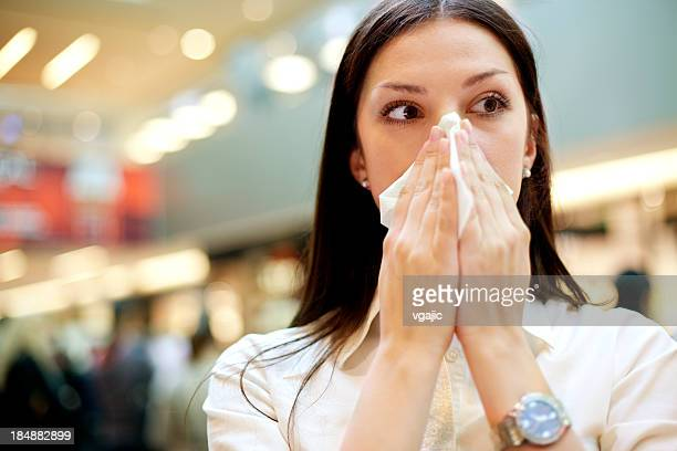 Woman With Flu At Public Place