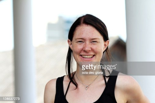 Woman with freckles : Stock Photo