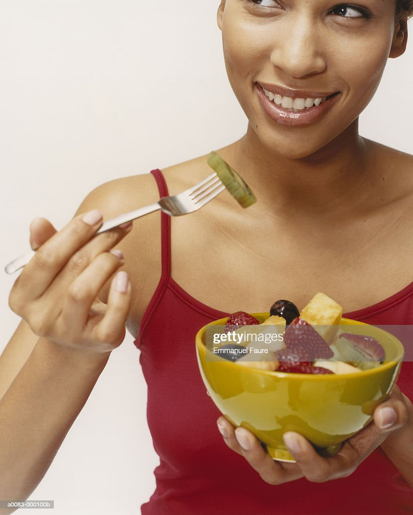 Woman with Fruit Salad : Stock Photo
