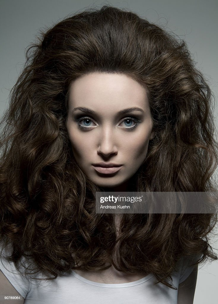 Woman with full hairstyle, portrait. : Stock Photo