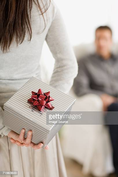 Woman with gift for boyfriend