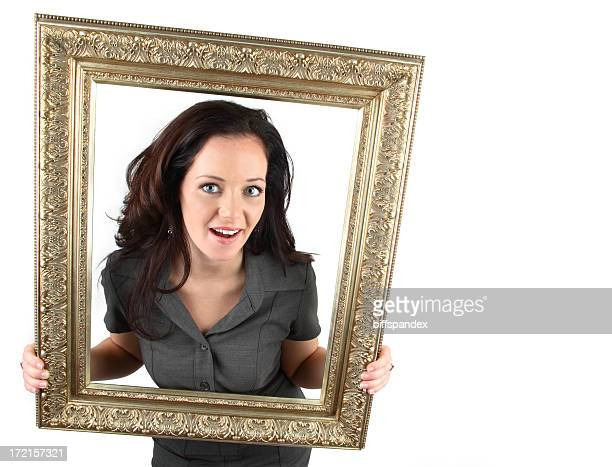 Woman With Gold Picture Frame