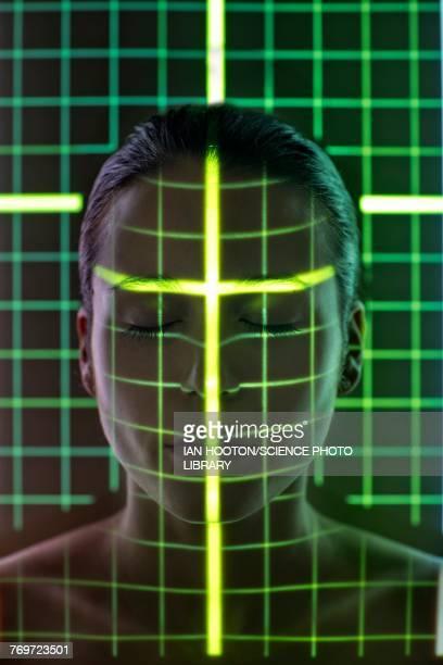 Woman with grid on face