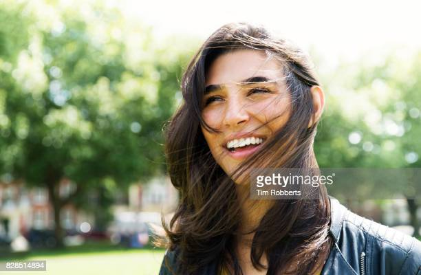 Woman with hair across her face