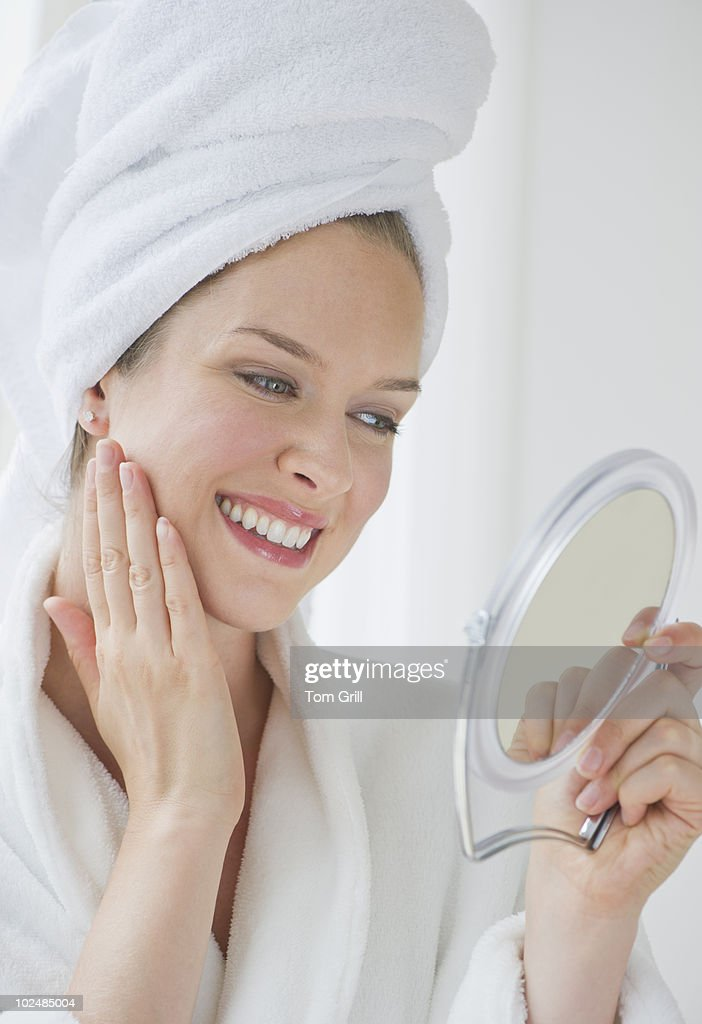 Woman with hair in towel : Stock Photo