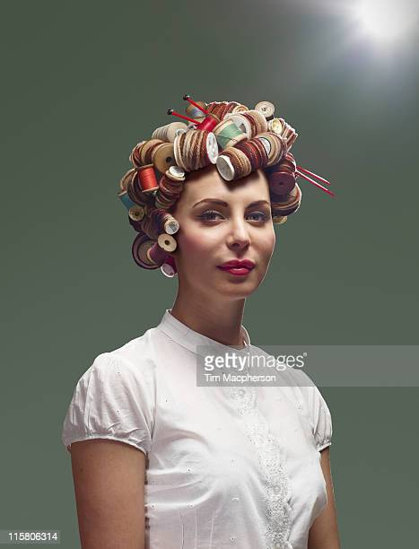 Woman with hair made from wool and cotton
